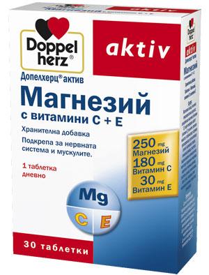 Допелхерц актив Магнезий с витамини С+Е 30 таблетки