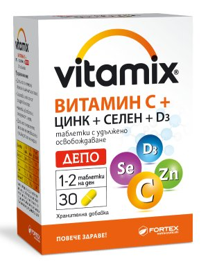 Витамикс, Vitamix Витамин С, Цинк, Селен и D3 Депо 30 таблетки
